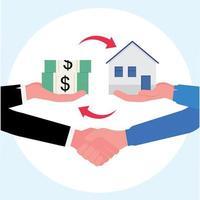 Abschluss des Kaufs eines Haustauschs mit Bargeld und einem Handschlag vektor