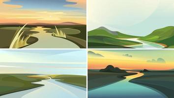 samling av flodlandskap. vektor