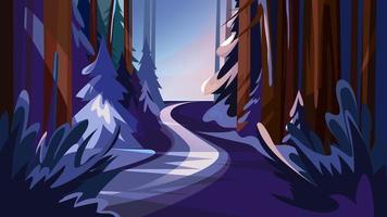 Straße im verschneiten Wald. vektor