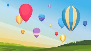Ansammlung von Heißluftballons. vektor