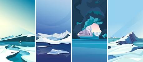 arktische Landschaften in vertikaler Ausrichtung. vektor