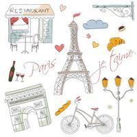 paris handritade symboler för vykort