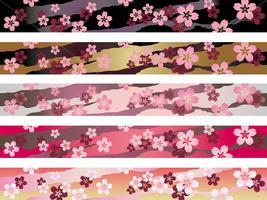 En uppsättning av ett sömlöst japanskt traditionellt mönster i fem färger.
