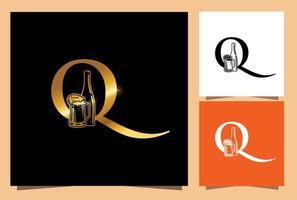 guldglas och flaskölmonogram initial bokstav q vektor