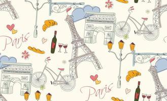 paris handritade symboler sömlösa mönster