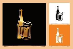 Glasbier und Flaschenschild gesetzt