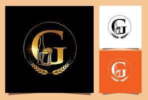 glas och flaska öl monogram bokstaven g vektor