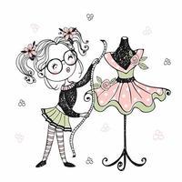 Eine süße kleine Näherin zeigt das Kleid vektor