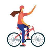 isolerad leveranskvinna med maskcykelvektordesign