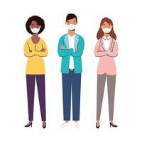 Frauen und Mann mit medizinischen Masken Vektor-Design
