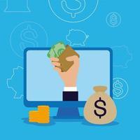 Computer und Hand, die Brieftasche mit Rechnungen Vektordesign hält