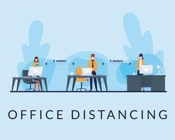 kontor distanserar mellan människor med masker på skrivbord vektordesign vektor