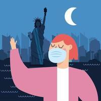 Frau mit Maske am New Yorker Stadtvektorentwurf vektor