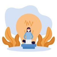 kvinna med maskbärbar dator och glödlampavektordesign