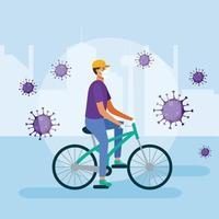 Mann mit medizinischer Maske auf Fahrradvektorentwurf