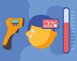 sjuk man med feber och smartphone med hjärtpulsvektordesign