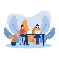 kvinna och man med masker på skrivbordsvektordesign