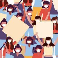 kvinnor med medicinska masker och banners styrelser bakgrundsvektordesign