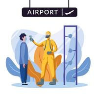 Mann mit Schutzanzug, der Manntemperatur am Flughafenvektorentwurf prüft vektor