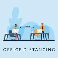 kontor distanserar mellan man och kvinna med masker vektor