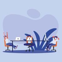 kontor distanserar mellan människor med masker på bordsvektordesign