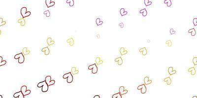 ljus flerfärgad vektormall med doodle hjärtan.