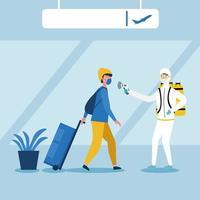 man med skyddsdräkt som kontrollerar manstemperatur vid flygplatsvektordesign vektor
