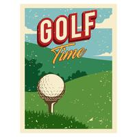 Weinlese-Golf-Plakat-Illustrations-Vektor vektor