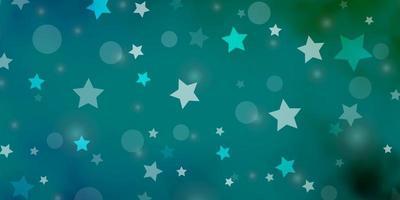hellblaue Vektorschablone mit Kreisen, Sternen.