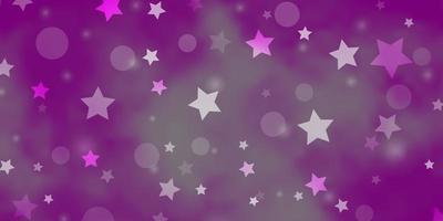 hellrosa Vektormuster mit Kreisen, Sternen.