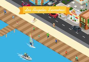 Isometrisk Los Angeles Bakgrunds Illustration