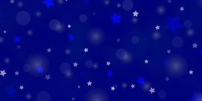 hellblauer Vektorhintergrund mit Kreisen, Sternen.