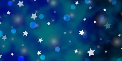 ljusblå vektor bakgrund med cirklar, stjärnor.