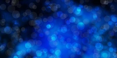 dunkelblauer Vektorhintergrund mit Kreisen.