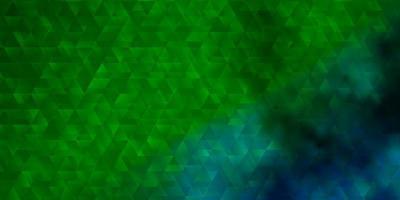 ljusblå, grön vektorbakgrund med linjer, trianglar.
