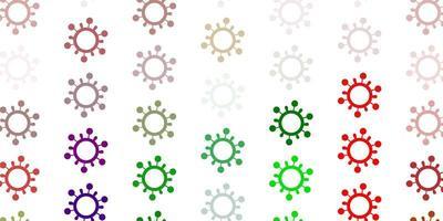 heller mehrfarbiger Vektorhintergrund mit Virensymbolen.
