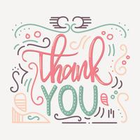 Hand Lettering Tack med prydnadsvektor vektor