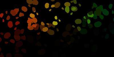 mörkgrönt, gult vektormönster med abstrakta former. vektor