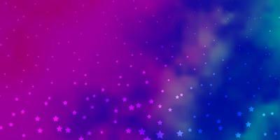 dunkelrosa, blaues Vektorlayout mit hellen Sternen. vektor