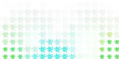 hellgrüner Vektorhintergrund mit covid-19 Symbolen