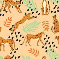 nahtloses Muster mit handgezeichneten exotischen Geparden der großen Katze mit tropischen Pflanzen vektor