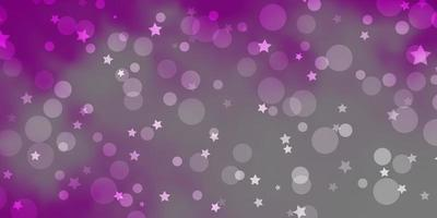 ljusrosa vektormönster med cirklar, stjärnor. vektor