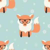 nahtlose frohe Weihnachtsmuster mit niedlichem Hipster-Fuchs vektor