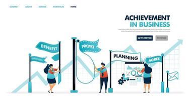 uppnå och mål i affärs- och företagsutveckling. framstegsprocess för att öka affärer, företagskarriär, företag. flagga för uppnådda mål. illustration för webbplats, mobilapp, affisch vektor