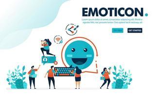 Vektor-Illustration Emoticon Nachricht. Leute teilen Nachrichten mit Smiley-Emoticons. Internet, um zu kommunizieren und Links zu teilen. Entwickelt für Zielseite, Web, Banner, mobile Apps, Vorlage, Flyer, Poster vektor