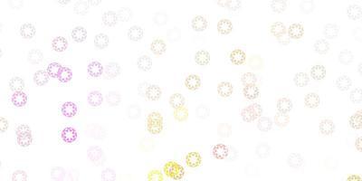 hellrosa, gelber Vektorhintergrund mit Flecken vektor