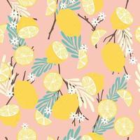 frukt seamless mönster, citroner med grenar, tropiska löv och blommor