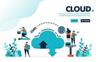 Vektor-Illustrationsdatenbank und Wolke. Internet herunterladen und in das Datenbanksystem hochladen. Cloud-Hosting und Speichervermietung. Entwickelt für Landing Page, Web, Banner, Vorlage, Flyer, Poster, UI
