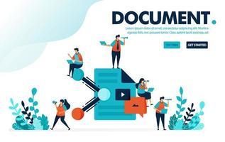 Vektorillustrationskonzept der Dokumentfreigabe. Menschen teilen Arbeitsdokumente und Papierkram. Teilen und Zusammenarbeit bei der Arbeit. Entwickelt für Landing Page, Web, Banner, Vorlage, Hintergrund, Flyer vektor