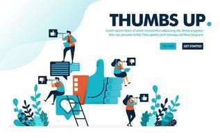 Vektorillustration wie Daumen hoch. Menschen geben einen Daumen hoch, lieben und mögen für Social-Media-Kommentare. Meinungen und Gefühle teilen. Entwickelt für Landing Page, Web, Banner, Vorlage, Flyer, Poster, UI vektor